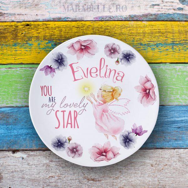 Farfurie personalizată cu îngeraş - You Are My Lovely Star