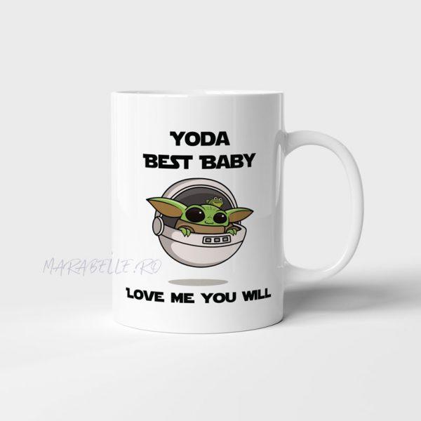 Cană personalizată Baby Yoda, pentru fanii seriei Star Wars