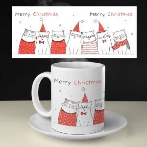 Cană pentru Crăciun personalizată cu pisici
