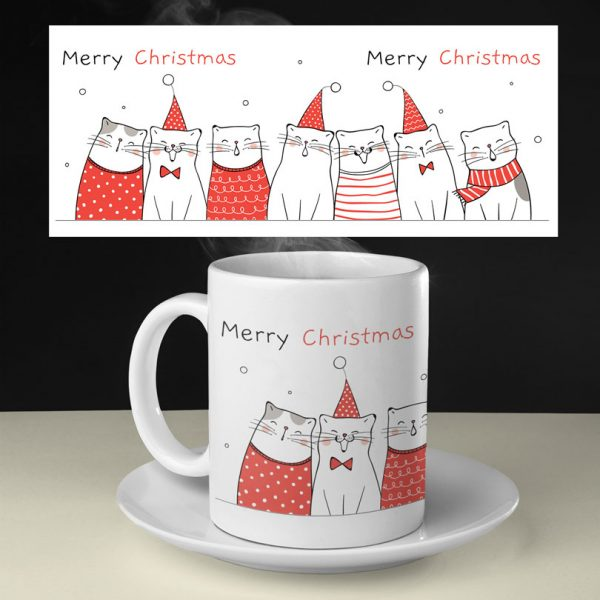 Cană cu pisici pentru Crăciun, personalizabilă