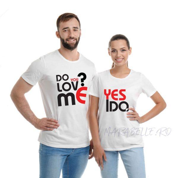 Set tricouri pentru cupluri Do you Love Me