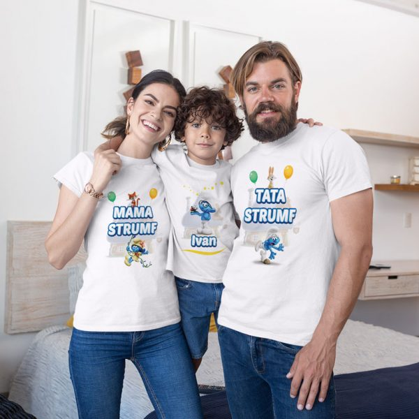 Tricouri personalizate cu Strumfi pentru toată familia