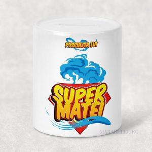 Puşculiţă personalizată cu nume, tematica Super Erou