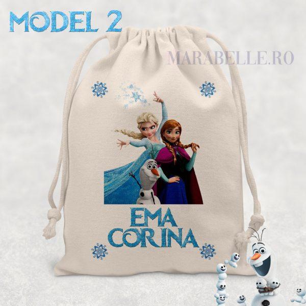Săculeţ personalizat cu Elsa, textură de canvas, Frozen