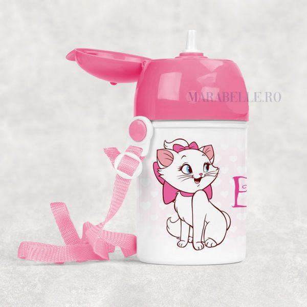 Sticluţă cu pai personalizată cu personajul Marie, 400 ml