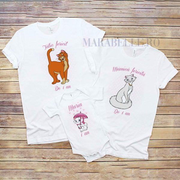 Set tricouri personalizate cu Marie, Pisicile Aristocrate