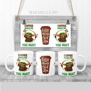 Cană pentru cafea cu Yoda