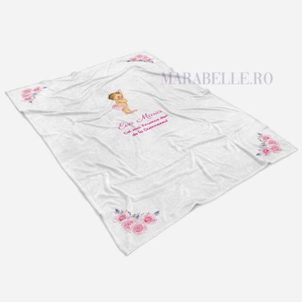 Păturică personalizată cu Mica Prinţesă, 150x100cm, micro fleece