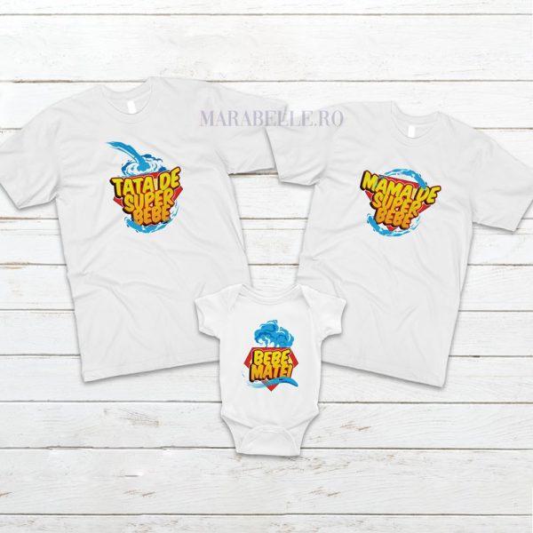 Set de 3 tricouri Super Bebe, pentru tăiere de moţ