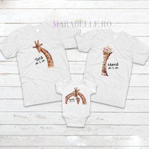 Set de tricouri aniversare cu girafe
