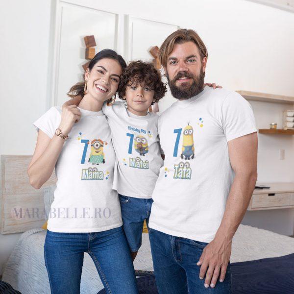 Tricouri aniversare cu Minioni, personalizate pentru orice vârstă