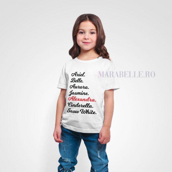 Tricou personalizat cu nume de prinţese, pentru copii
