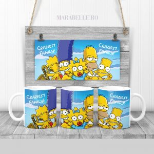 Cană cadou personalizată cu Familia Simpson