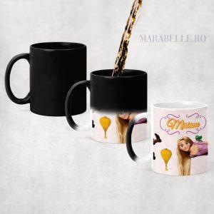 Cană cadou cu Rapunzel, personalizată cu nume