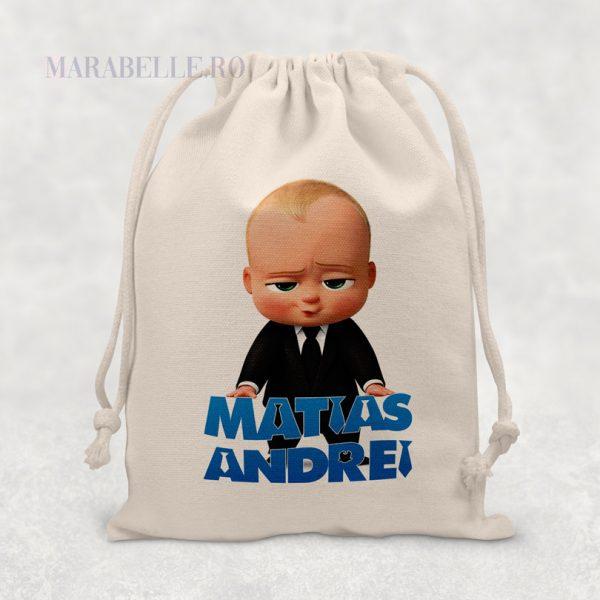 Săculeţ cadou cu Boss Baby personalizat cu nume