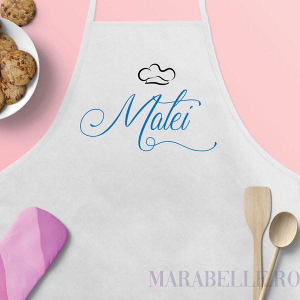 Şorţ de bucătărie personalizat cu nume şi bonetă la alegere