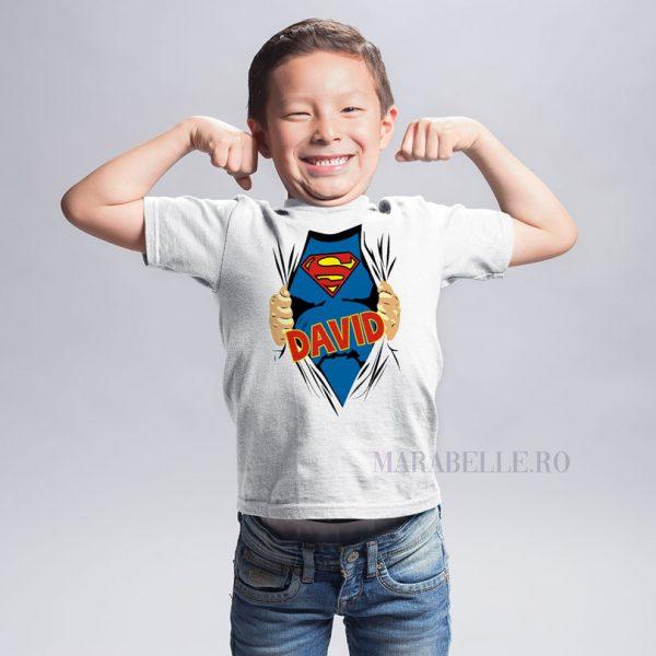 Tricou pentru copii cu SuperMan personalizat cu nume