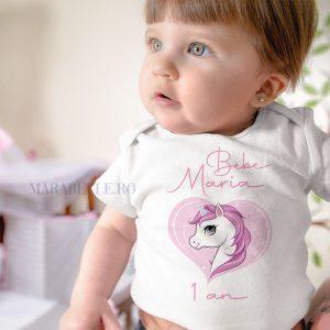 Set aniversar de tricouri şi body cu Unicorn, personalizate cu nume