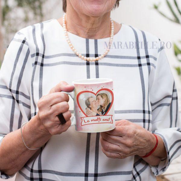 Cană aniversară Te Iubesc Mamă, personalizată cu poză