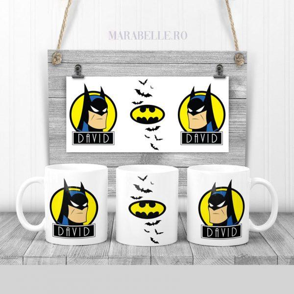 Cană cadou cu Batman personalizată cu nume