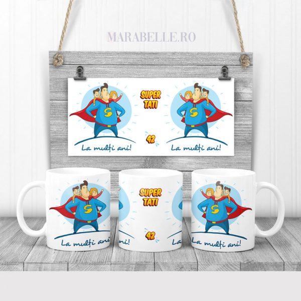 Cană cadou pentru tătici cu 2 copii, Super Tati
