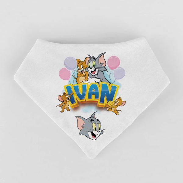 Eşarfă cadou pentru copii, personalizată cu Tom Şi Jerry