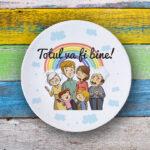 Farfurie personalizată cu mesaj, pentru familie