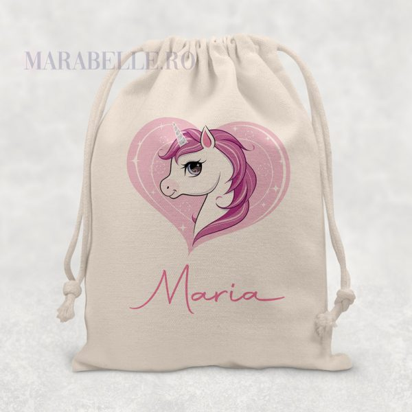 Sacoşică personalizată cu Unicorn şi nume