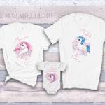 Set aniversar de tricouri şi body cu Unicorn