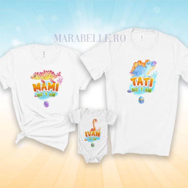 Set de tricouri şi body cu dinozauri, personalizate cu nume
