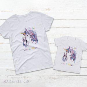 Set Tricouri mama şi fiica cu Unicorni, Love is Magic