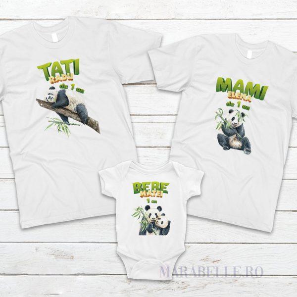 Set de tricouri cu body Panda