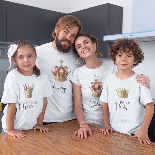 Set de 3 tricouri Royal Crowns personalizate cu nume