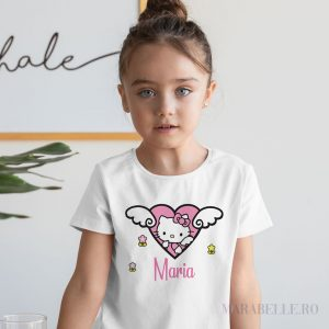 Tricou personalizat cu Hello Kitty, pentru fetiţe