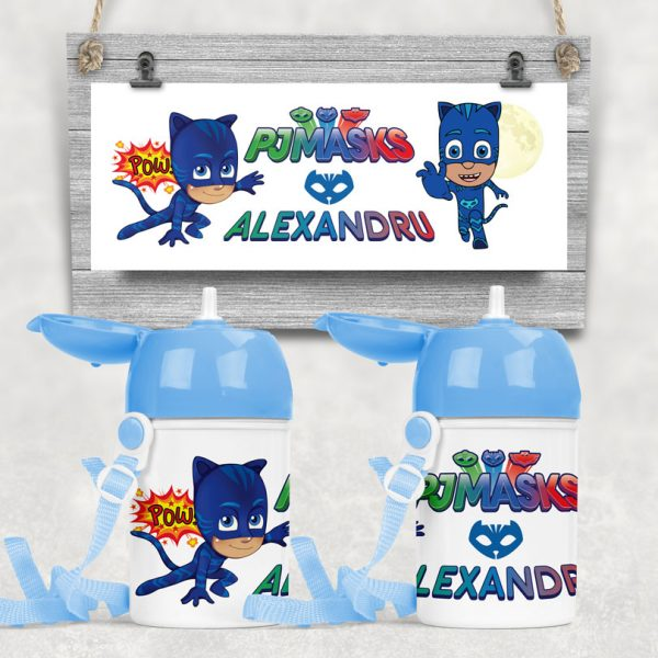 Sticluţă cu pai cadou cu personajul Catboy din Eroi în Pijamale