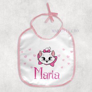 Baveţică personalizata cu pisicuţa Marie