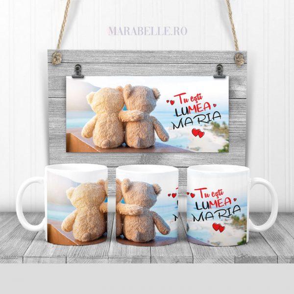 Cană cadou personalizată cu ursuleţi îmbrăţişaţi Hugging Bears