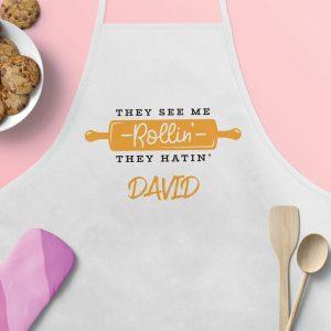 Şorţ de bucătărie personalizat – They See Me Rollin'