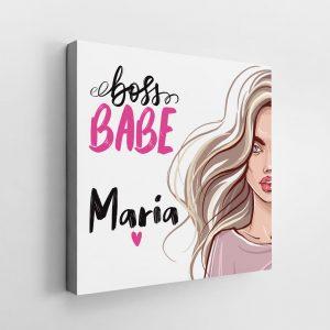 Tablou Canvas Boss Babe, personalizat cu nume