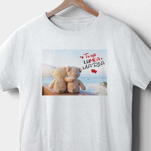 Tricou cadou cu ursuleţi Hugging Bears, personalizat cu nume