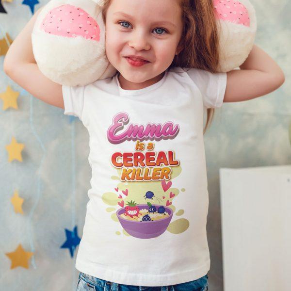 Tricouri pentru copii Is A Cereal Killer, personalizate cu nume