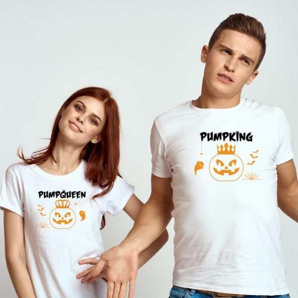 Set de tricouri Halloween pentru cupluri, PumpKing şi PumpQueen