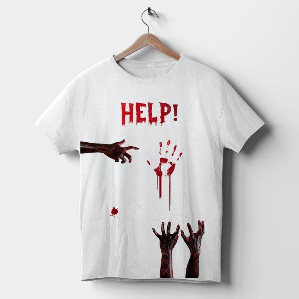 Tricou Zombie Help, cu pete de sânge, tricou horror pentru Halloween