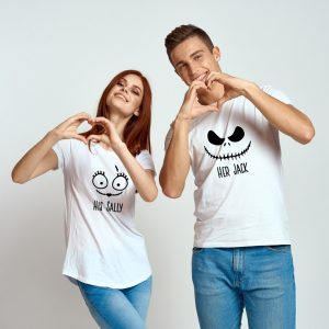 Tricouri Halloween pentru cupluri, His Sally Her Jack