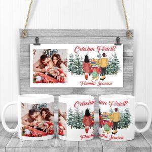 Cană cadou de Crăciun personalizată cu poza, pentru familie.