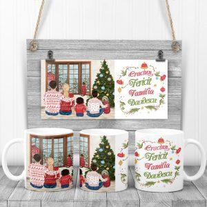 Cană Christmas Family, personalizată cu mesaj.