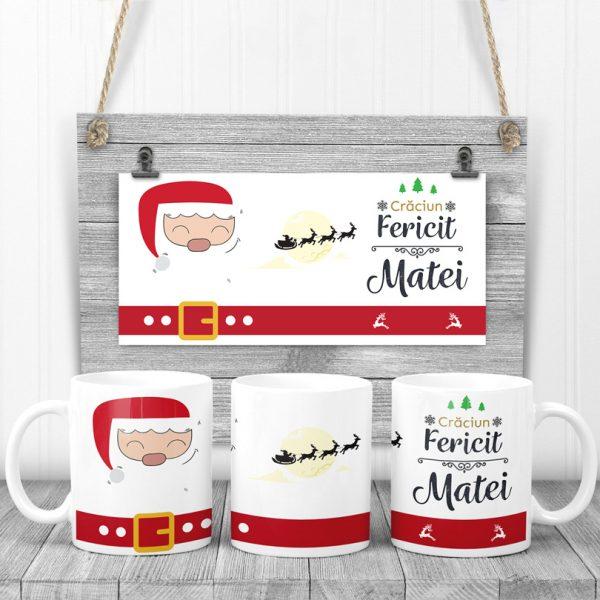 Cană cadou cu Moş Crăciun, personalizată cu nume
