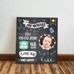 Tablou bebeluş personalizat cu poză şi datele avute la naştere