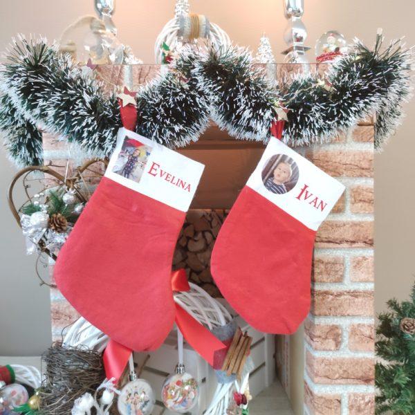 Ciorap decorativ pentru Crăciun, personalizat cu nume
