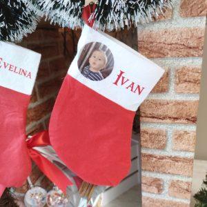 Ciorap decorativ pentru Crăciun din material textil pufos